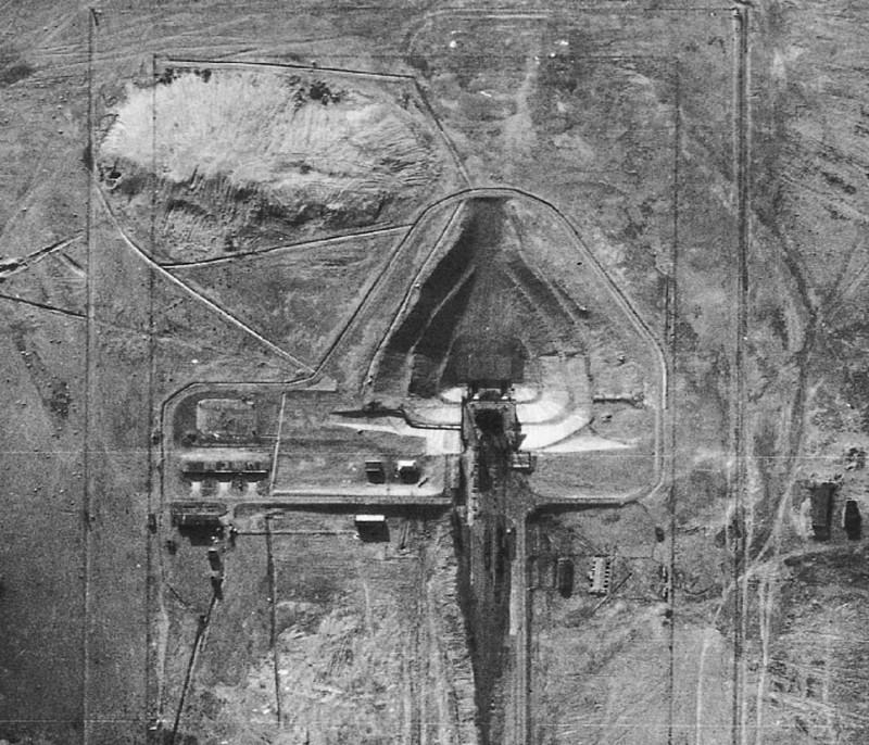 Фотография стартовой площадки ядерной ракеты Р-7, сделанная во время полета U2 в 1957 году рядом c советским поселком Тюратам(теперь это территория Казахстана).