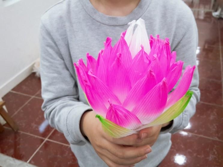 유아미술로 석가탄신일에 연꽃 만들기