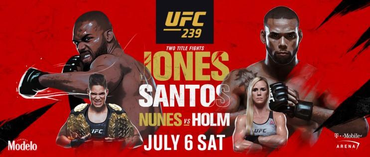 라이트헤비급 존존스 산토스 중계 밴텀급 타이틀전 홀리홈 아만다누네스 UFC239 스포티비나우 생중계안내