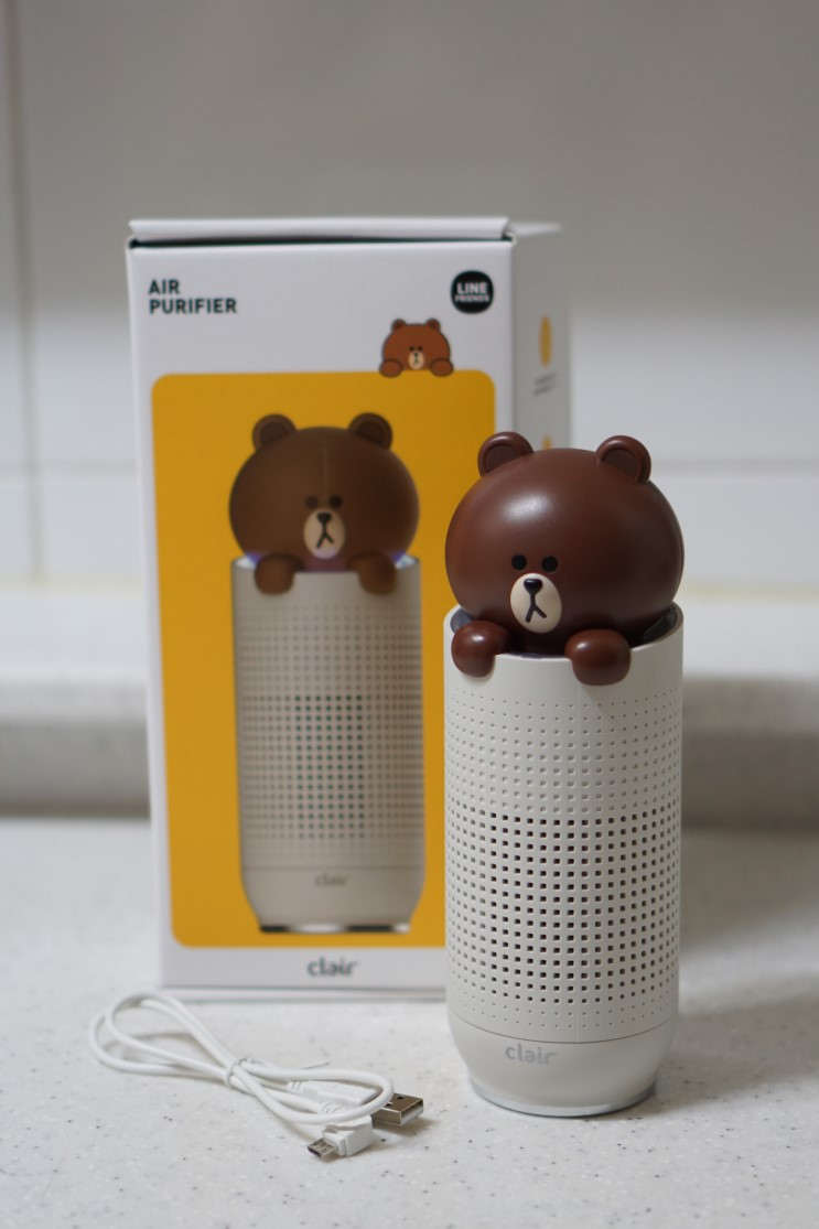 클레어 브라운 휴대용 공기청정기 :: 집안부터 차안, 바깥에서도 귀엽고 간편하게!(feat.라인프렌즈)