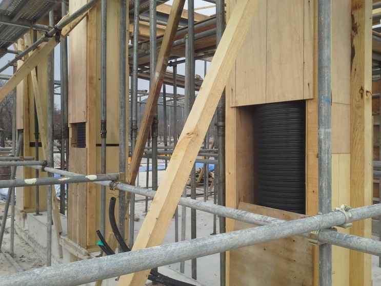 원형기둥 만들기 주름관 이중관 스틸폼 친환경 종이거푸집 기둥