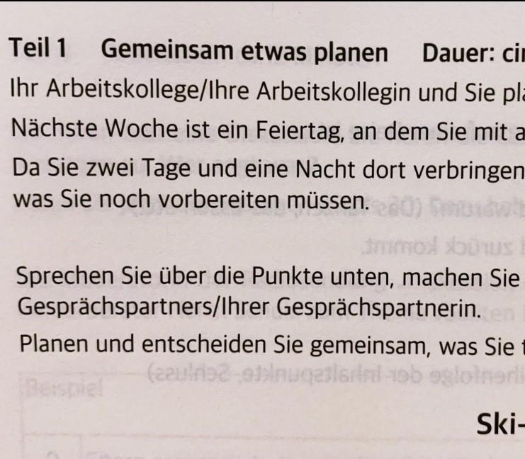 Etwas planen gemeinsam Deutsch B1