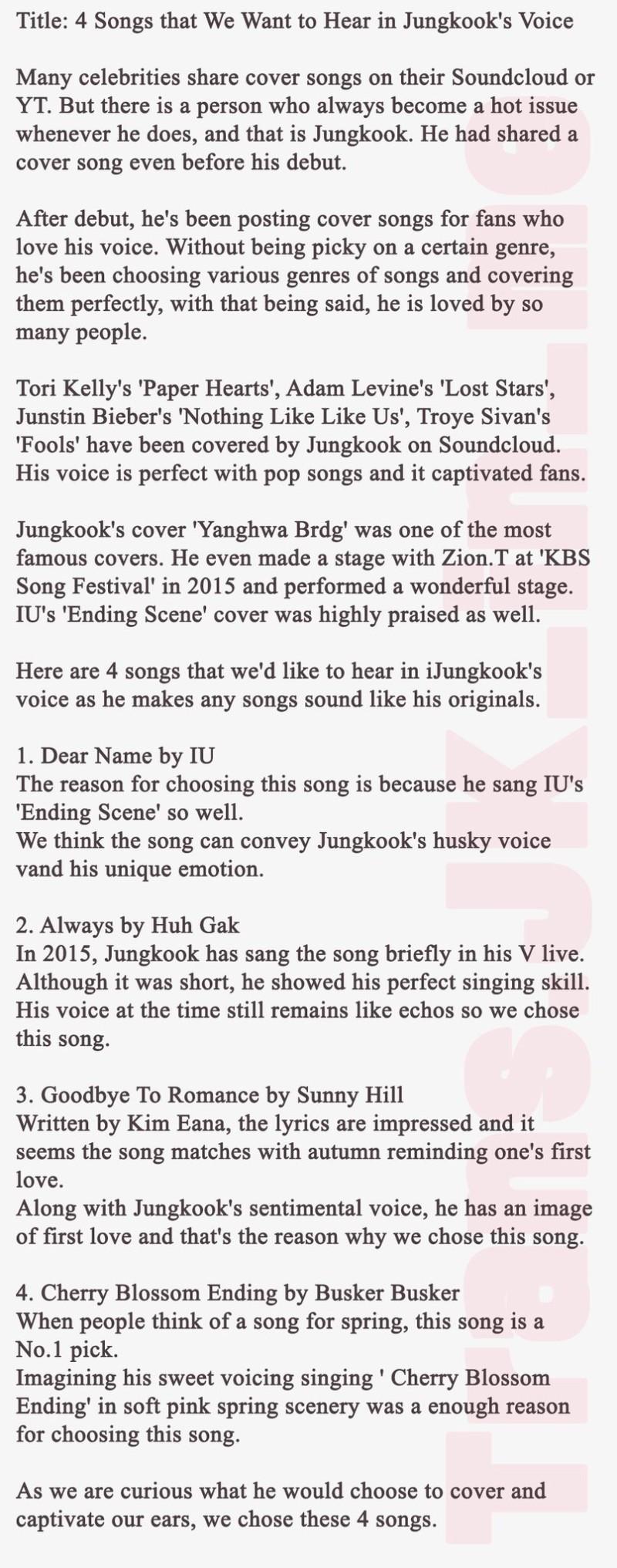 """방탄소년단 정국] TopStarNews """"4 songs that we want to hear"""