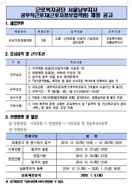 [채용][근로복지공단] [서울남부지사] 공무직근로자(근로자정보입력원) 채용공고