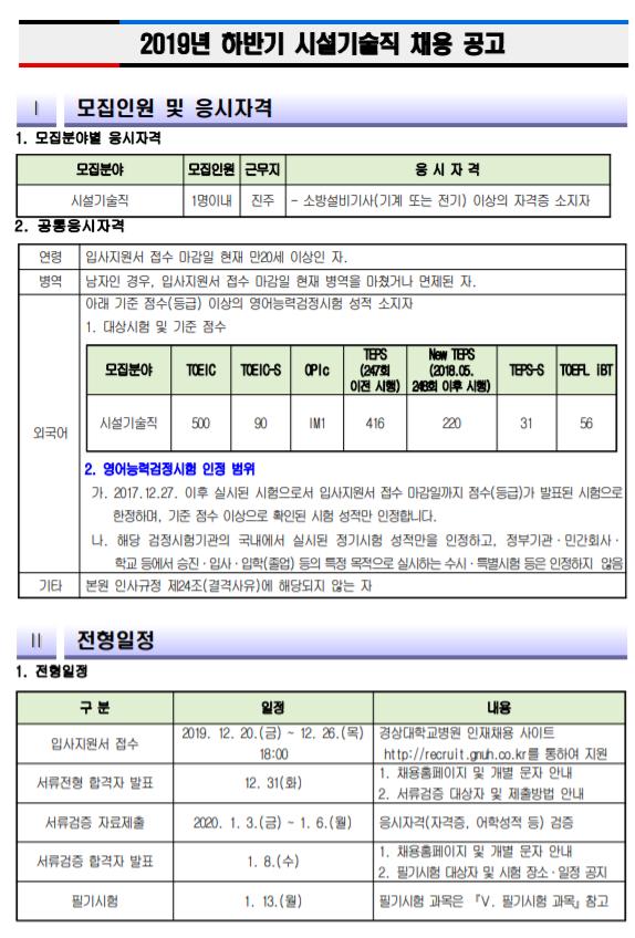 [채용][경상대학교병원] 시설기술직 채용 공고