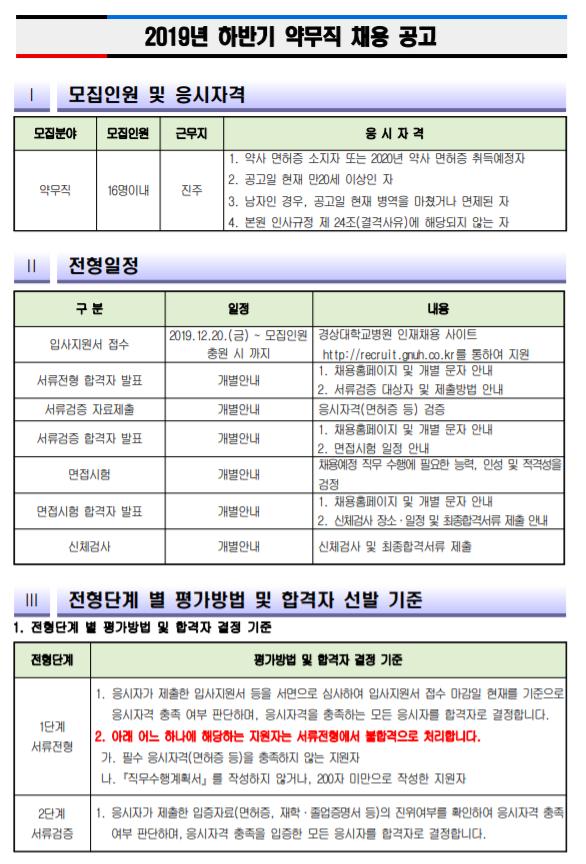 [채용][경상대학교병원] 약무직(면허소지자 및 2020년 면허취득예정자) 채용 공고