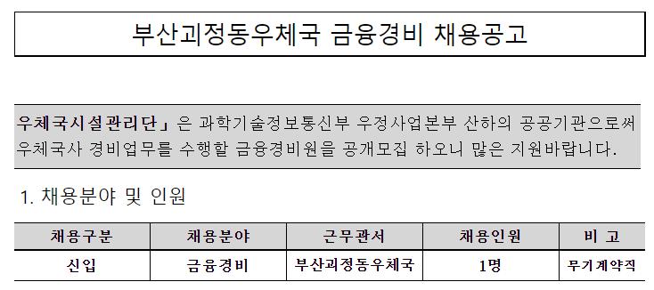 [채용][우체국시설관리단] 부산괴정동우체국 금융경비 채용
