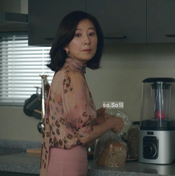 부부의 세계 12회 김희애 블라우스-블루마린 플라워 블라우스