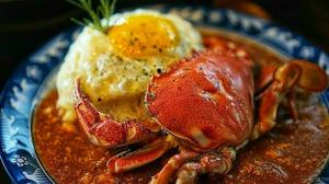 Jeju Island Crab Curry & Rice topped with seasoned mackerel제주도 문쏘 황게카레&고등어밥Korean Street Food