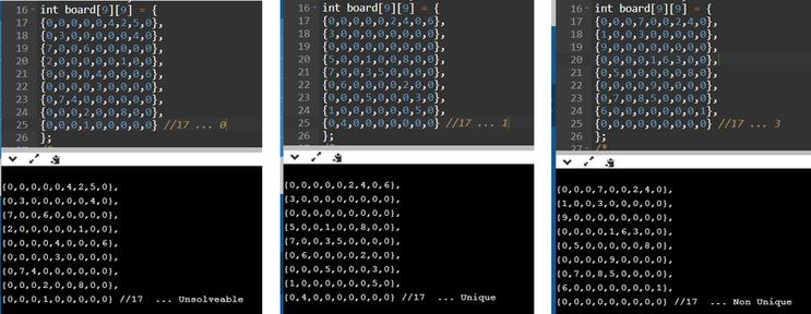 Sudoku Checker ... Unsolveable or Unique or Non-Unique (스도쿠-유일정답여부 확인프로그램) C++ Source Code