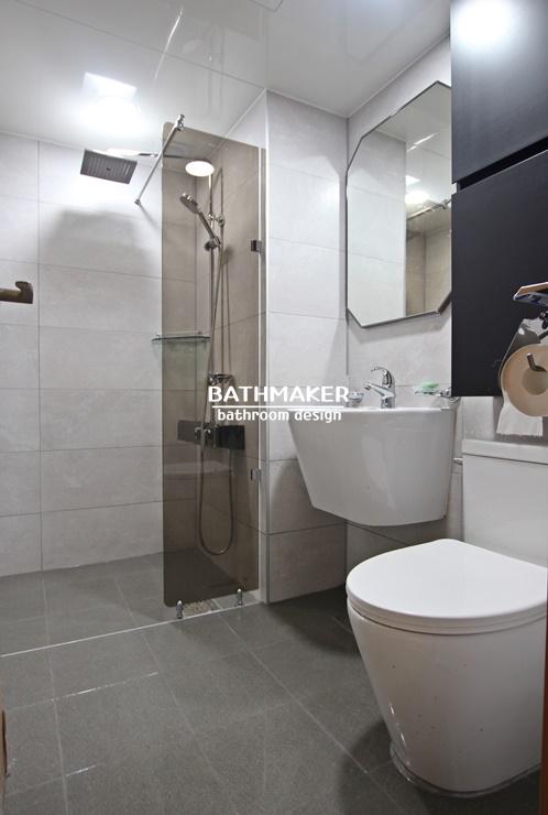 의정부 장암동 푸르지오아파트 욕실리모델링, 블랙톨장으로 포인트를 준 욕실, 장암푸르지오아파트 거실욕실 인테리어