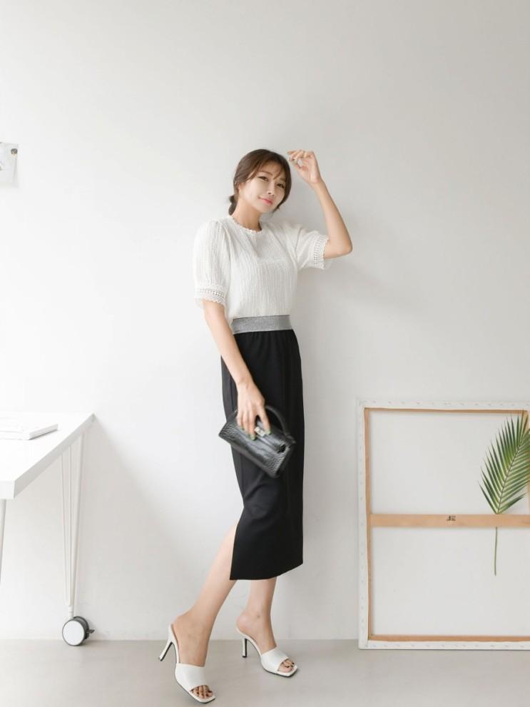 데일리코디추천☆  라인이 굉장히날씬해보이는 실버배색 슬릿스판스커트를 소개합니다