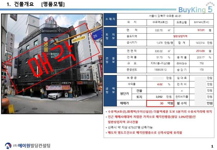 강북구 수유역 역세권 코너 일반상업지역 신축부지 투자사례, 오피스텔 및 임대수익용 건물 신축부지, 30억, 평당 3,092만원