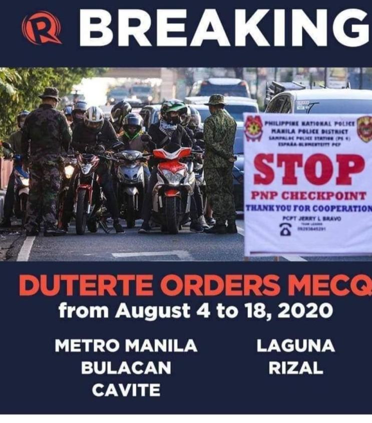 필리핀 메트로마닐라, 고위험 지역 8월 4일~18일까지 15일동안 MECQ로 전환
