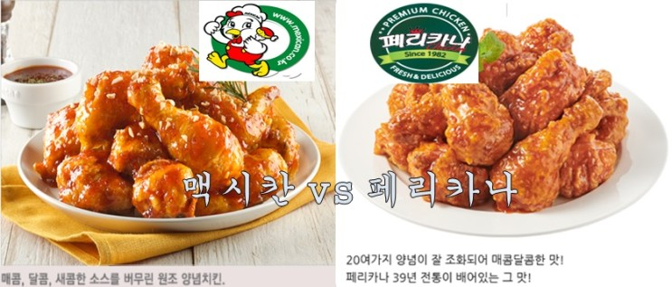 양념치킨 원조 맥시칸 치킨 vs 페리카나 비교