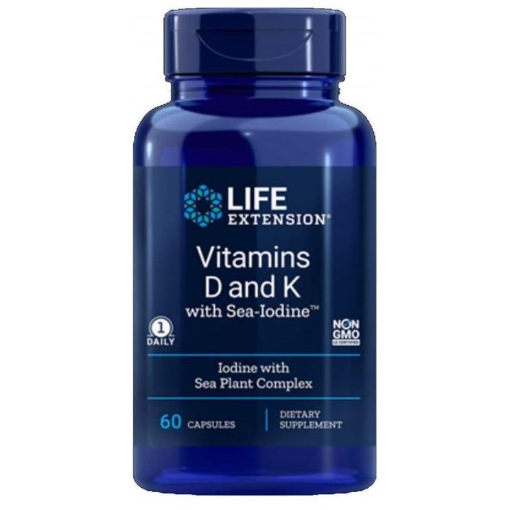 Life Extension 라이프익스텐션 비타민D 비타민K  SeaIodine 60정 2팩 1개