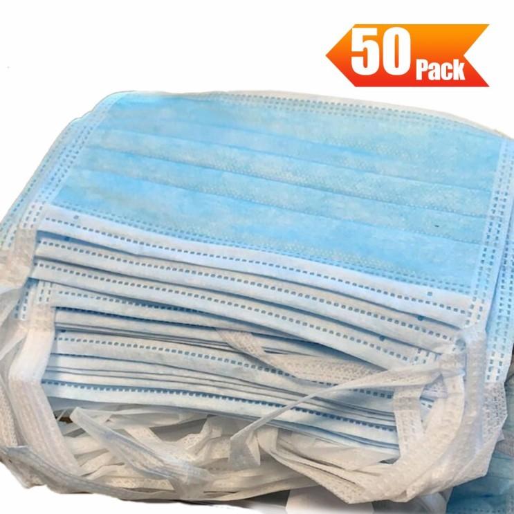 TIRAS 일회용 3 레이어 마스크 의료 외과 보호 방진 통기성 위생 (팩 블루 당 50 조각), 1개