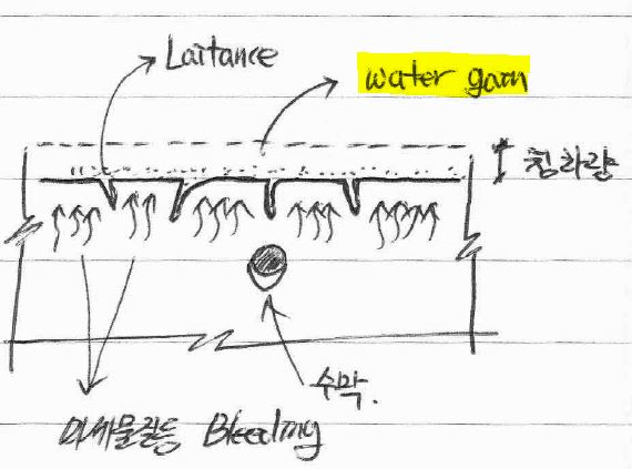 미경화 콘크리트 Water gain 현상