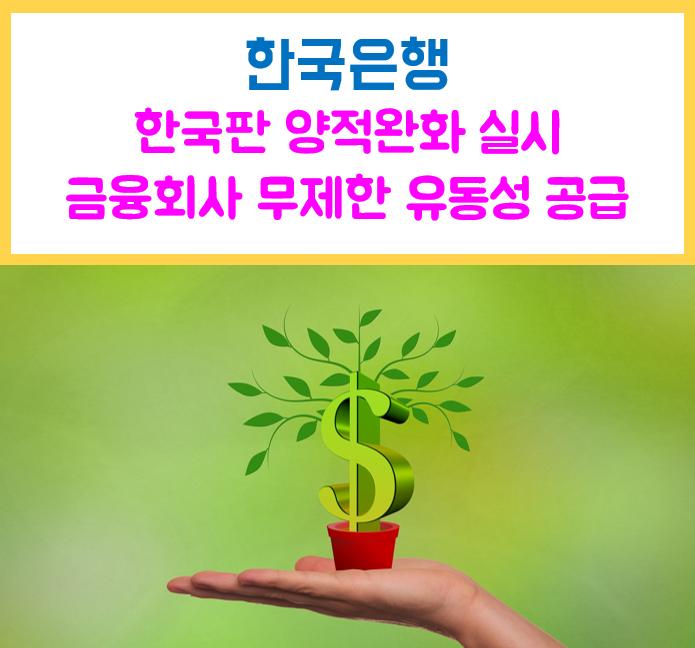 한국은행 무제한 유동성 공급 한국판 양적완화 실시