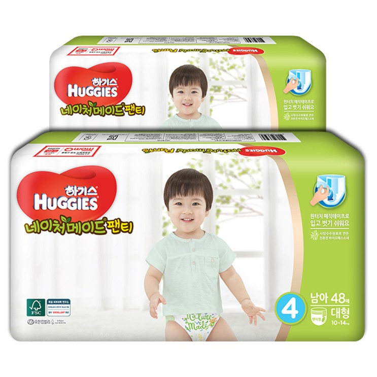 하기스 네이처메이드 팬티형 기저귀 남아용 대형 4단계1014kg 96매