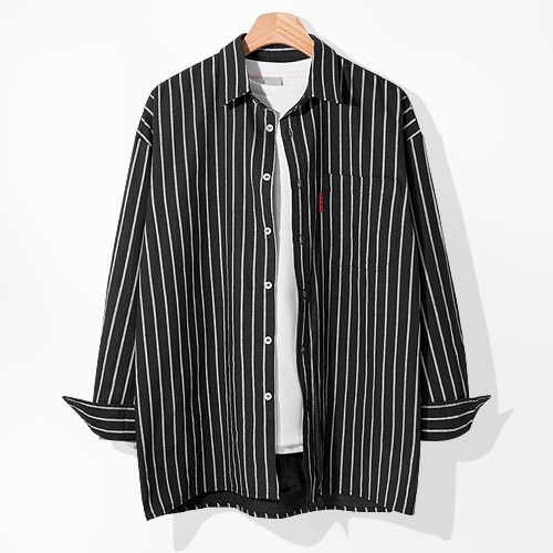 (로켓배송)제이에이치스타일 남성용 오버핏 포켓 스트라이프 셔츠 가격정보