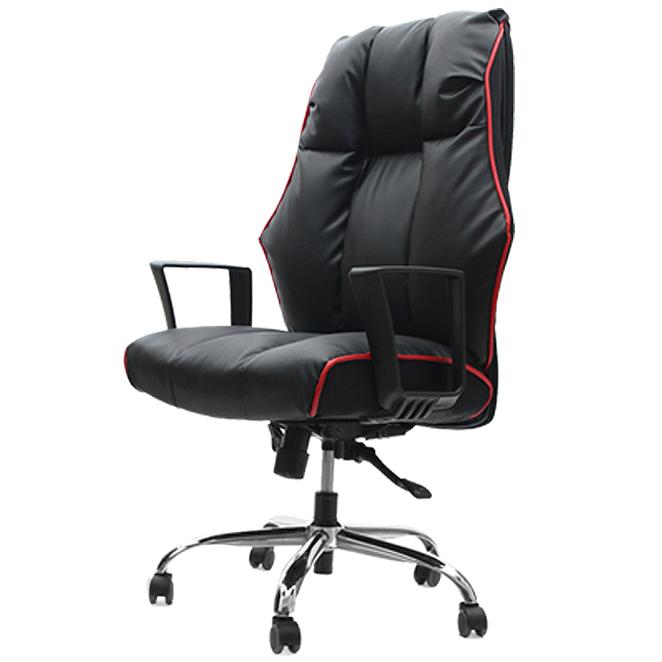 의자명가 타이탄1 일반좌판 사각팔걸이 의자 블랙  레드