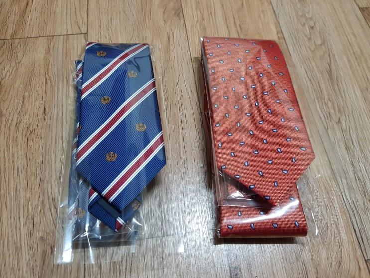 가성비 넥타이구매 블루문 넥타이 오렌지색 네이비자수넥타이