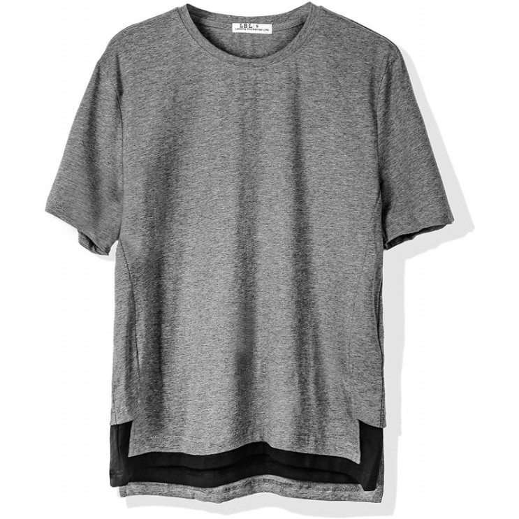 T 셔츠 반소매 니트 무지 넓은 큰 사이즈 긴 길이 얇은 폴리 에스테르 차가운 라운드 넥 캐주얼 그레이 추천해요