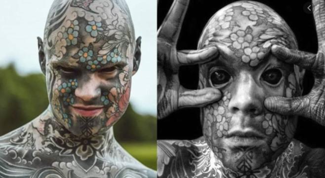 악마의 눈을 가진 온몸이 문신인