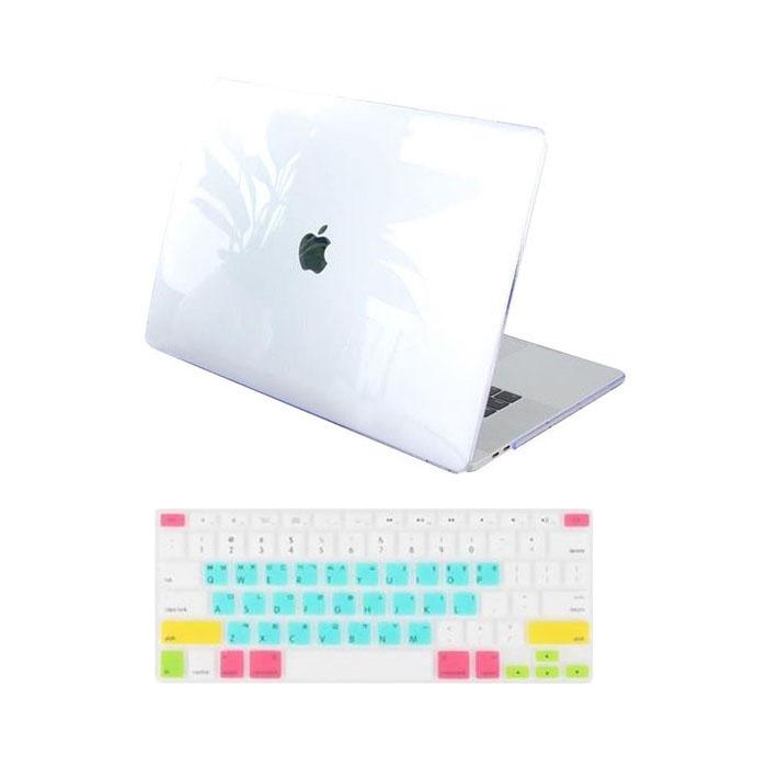 뉴비아 맥북용 레인보우 키스킨 + 크리스탈 하드케이스 투명 맥북 2018년형 뉴프로13터치바 A1989, 혼합 색상, 1세트