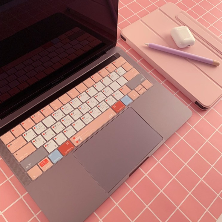 아카빌라 맥북 에어 프로 13 15인치 자판 덮개 단축키 키스킨, 1개, 에어 13인치(A1369/A1466) - 핑크