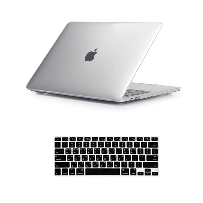 뉴비아 맥북용 키스킨 블랙 + 크리스탈 하드케이스 투명 맥북프로13논터치 A1708, 혼합 색상, 1세트