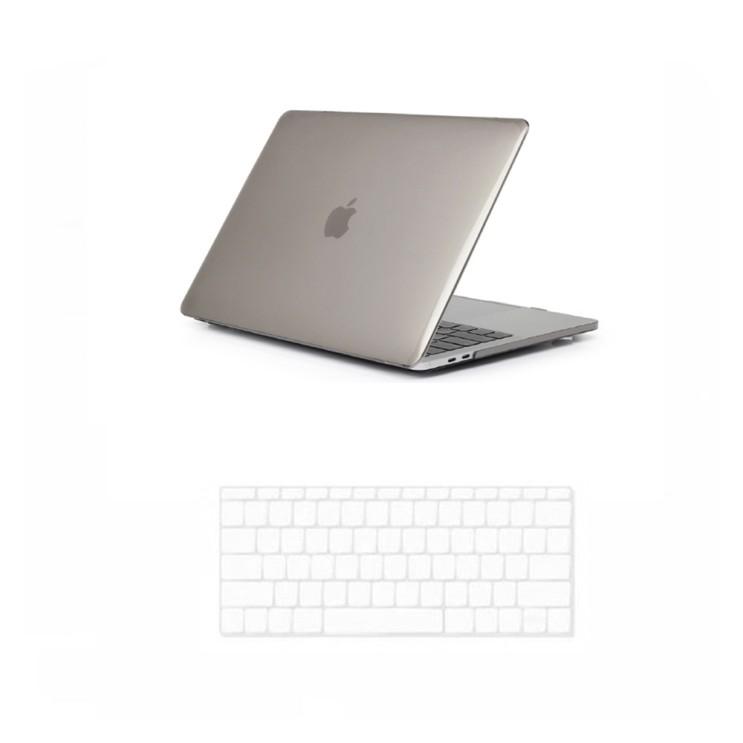 맥북프로15터치 A1707 & A1990 전용 케이스 + 키스킨 세트, 키스킨(투명), 케이스(블랙)