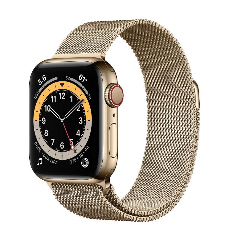 Apple 2020년 애플워치 6 GPS + 셀룰러 40mm, 골드 스테인리스 스틸(케이스), 골드 (밀레니즈 루프)