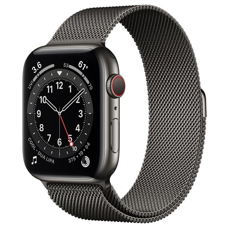 Apple 2020년 애플워치 6 GPS + 셀룰러 44mm, 그래파이트 스테인리스 스틸(케이스), 그래파이트 (밀레니즈 루프)