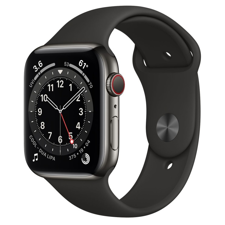 Apple 2020년 애플워치 6 GPS + 셀룰러 44mm 레귤러, 그래파이트 스테인리스 스틸(케이스), 블랙(스포츠 밴드)