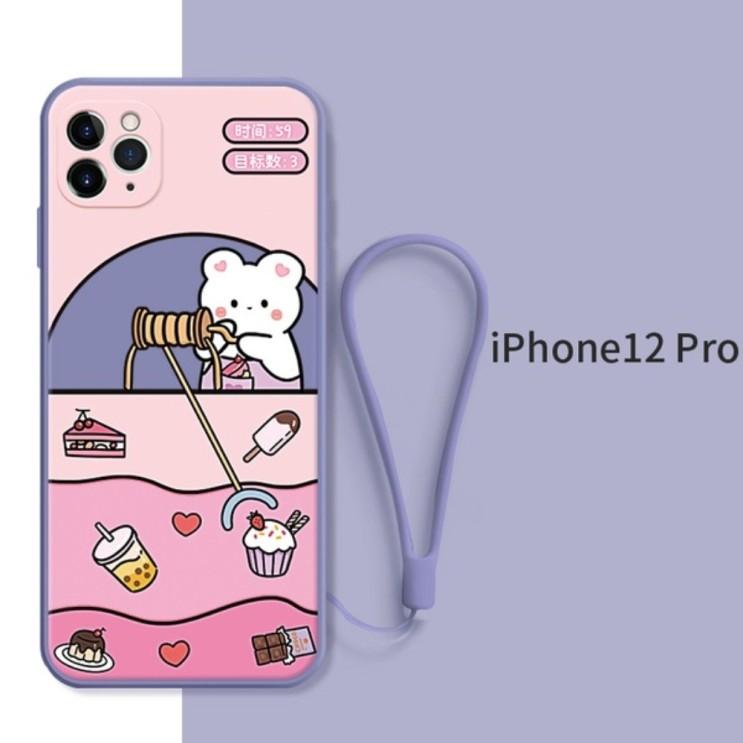 뽀짝 갬성 귀여운 아이폰12 프로 케이스 확실한 보호 퍼플 간식 곰