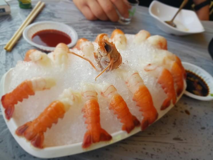 여수여행시 꼭 먹어야될 음식 딱새우회와 해물삼합!