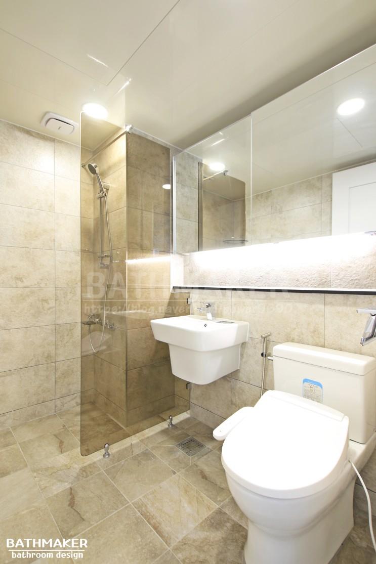 화장실인테리어) 간접등을 시공한 중계 중앙하이츠아쿠아 거실욕실인테리어