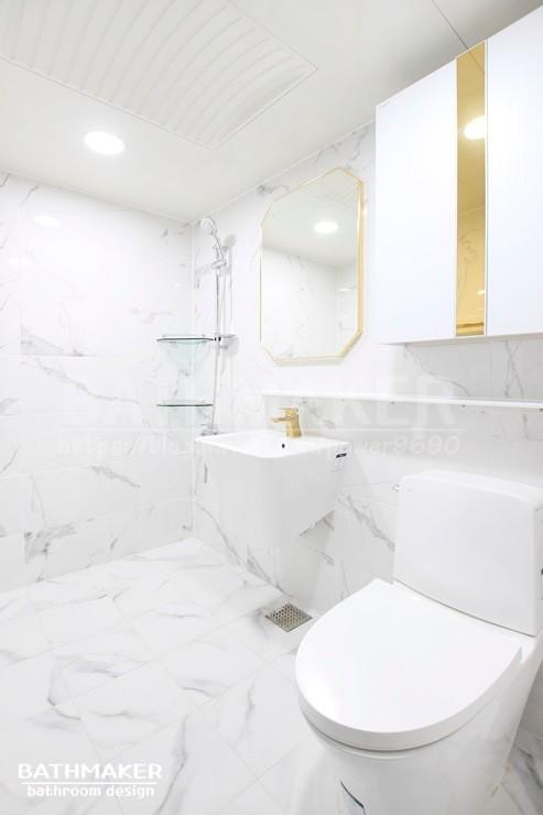 월계 서광아파트 화장실인테리어) 골드와 실버색상이 적절히 어우러진 욕실 리모델링