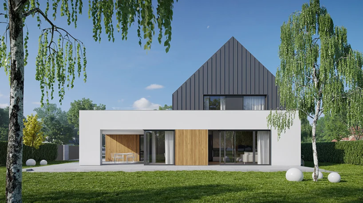 사각 박스주택 건축 위 모던 박공지붕 주택 수직 조합 집짓기