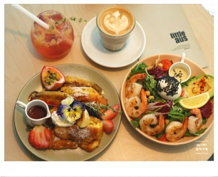 크루아상 프렌치 토스트 유리잔에 내어주는 카페라떼 리틀오스 부산 수영구 광안동 신상 브런치 카페
