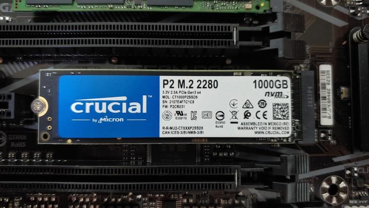 마이크론 Crucial P2 M.2 NVMe 1TB SSD 아스크텍 간략 성능벤치리뷰 테스트