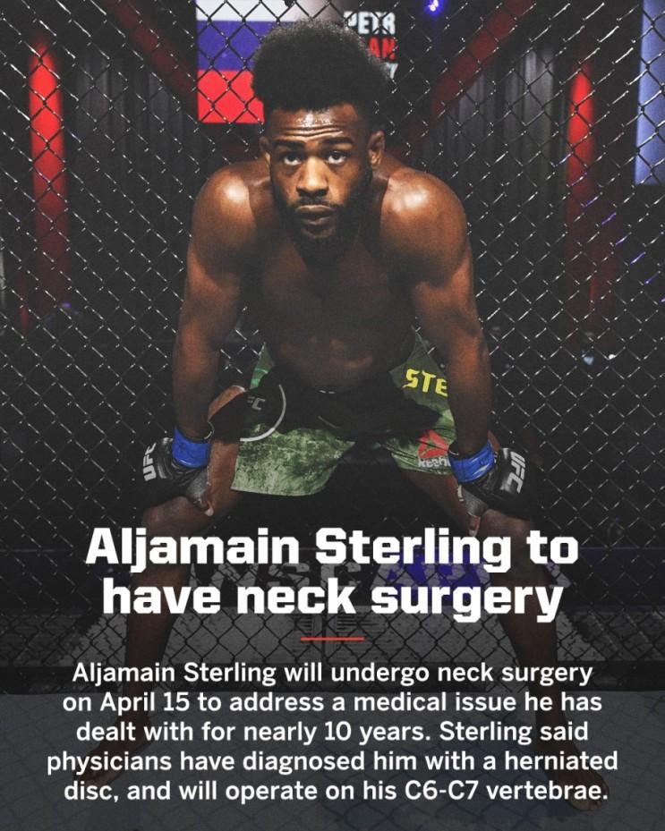 알저메인 스털링, 목 수술로 10월이나 11월 초 밴텀급 타이틀 방어전 예상 등 MMA 뉴스
