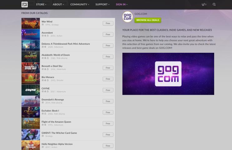 GOG.COM 게임 무료 배포