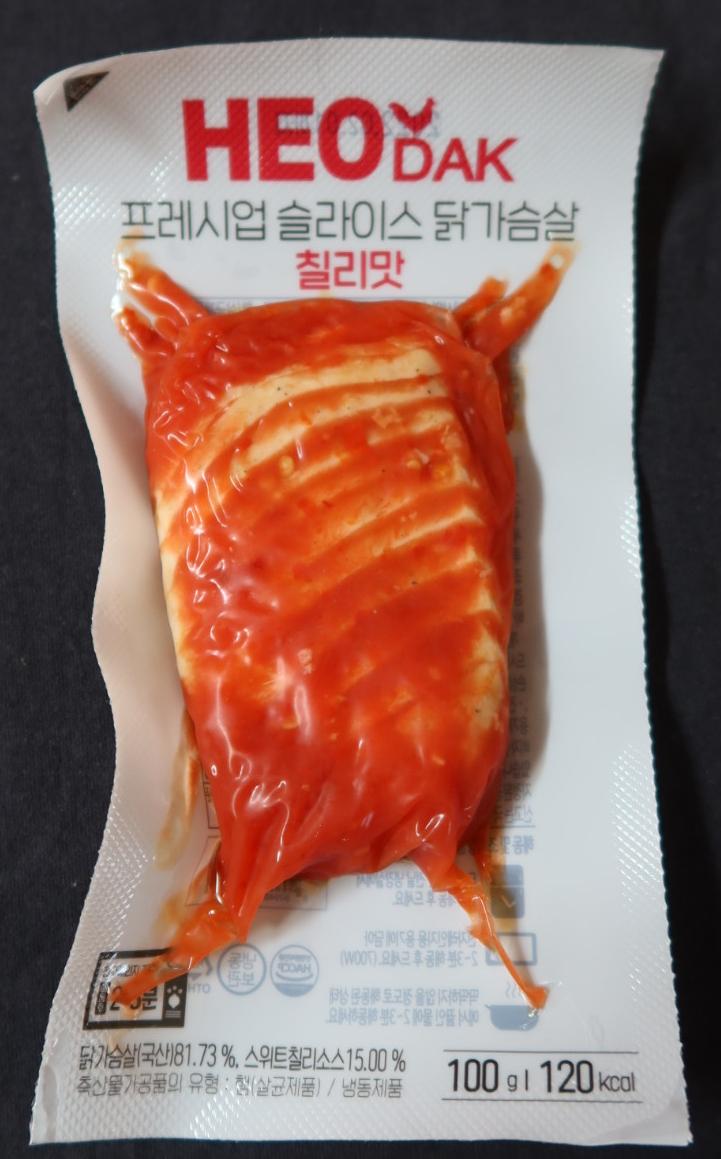 허닭 프레시업 슬라이스 닭가슴살 칠리맛 내돈내산