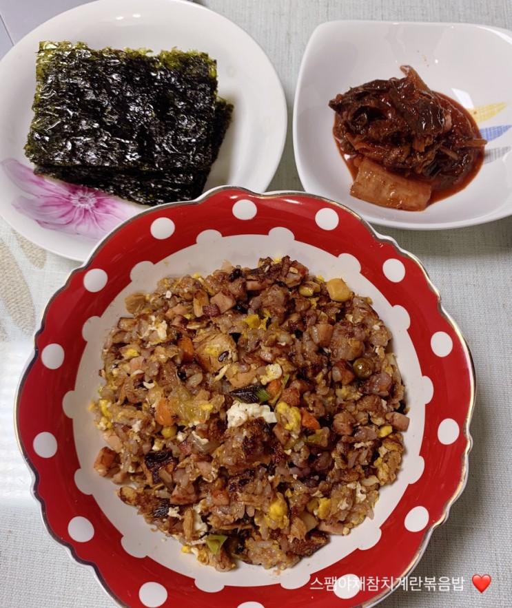 [쑤기랑 일상] 직장인 간단한 요리, 스팸야채참치계란볶음밥, 간단한 저녁메뉴