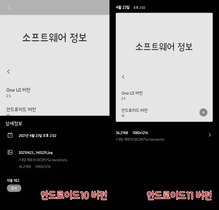 갤럭시 앨범(갤러리) 상세정보 창 바꾸기