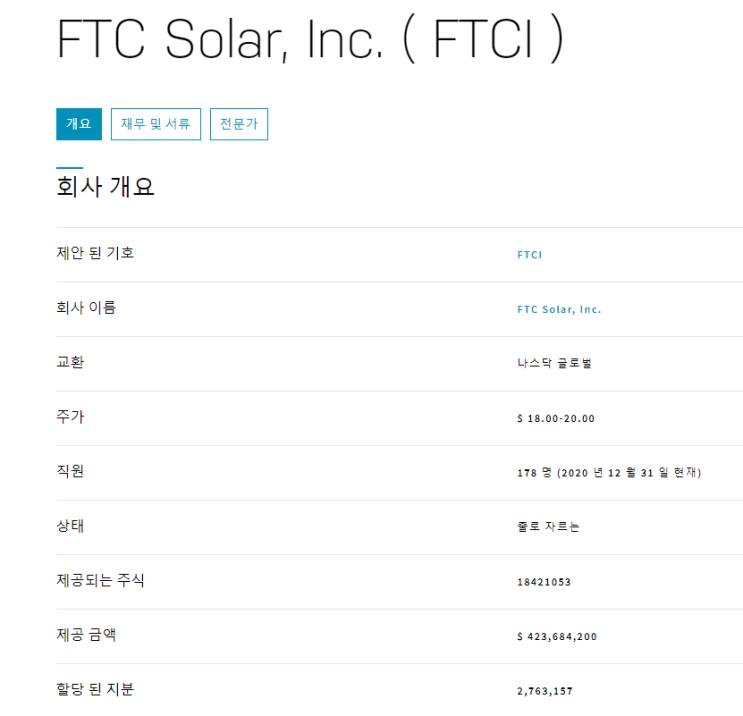 4월 28일 상장하는 FTCI 회사 정보 FTC Solar
