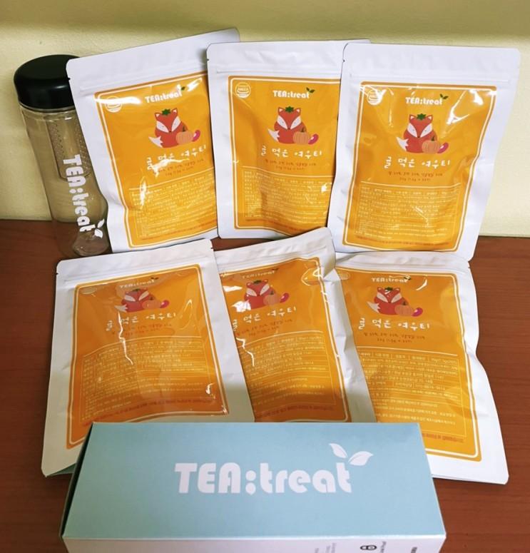 3.5만개 완판 비타민 팡팡 Tea:treat 여우티 - 귤먹은여우티